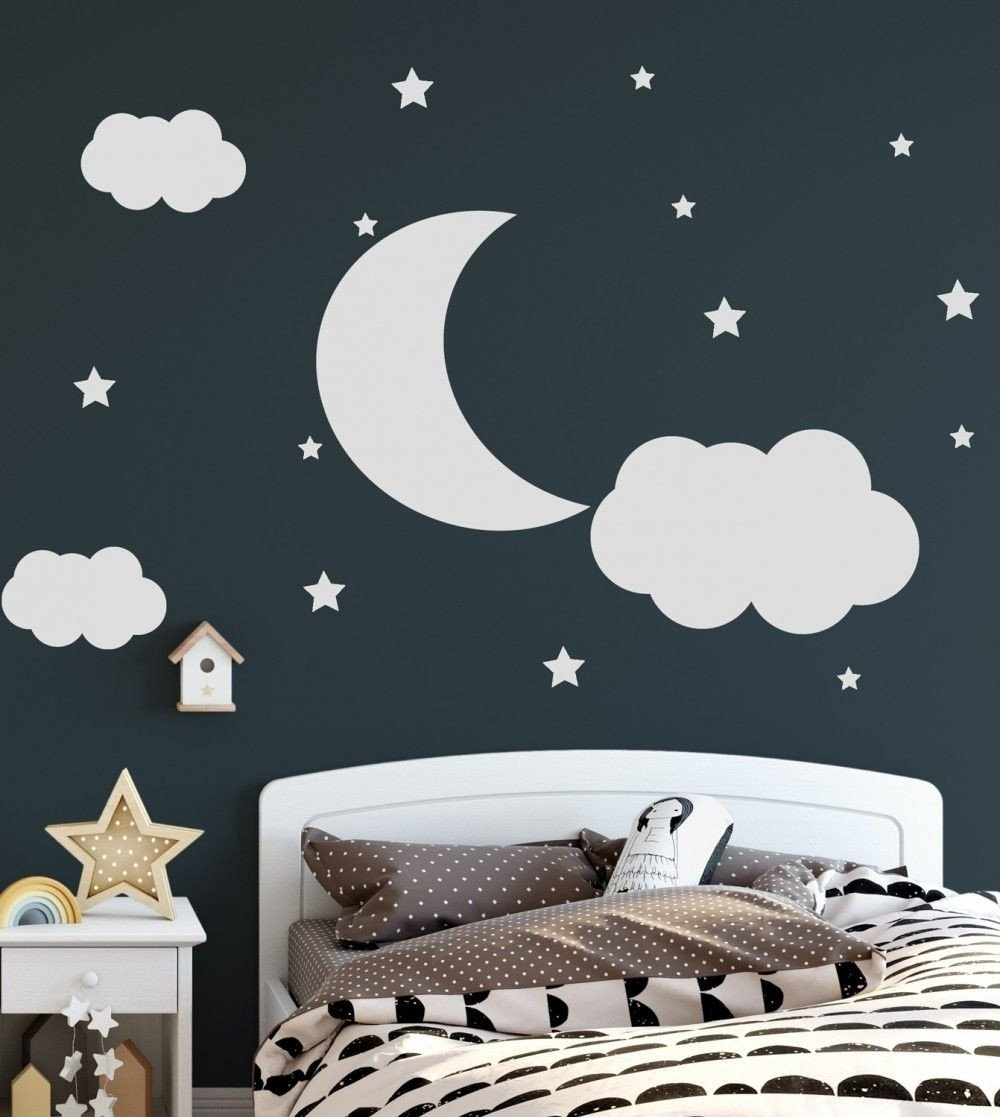Childrens Bedroom Wall Stickers Removable Luxury Nursery White Crescent Moon with Clouds Wall Decal Sticker