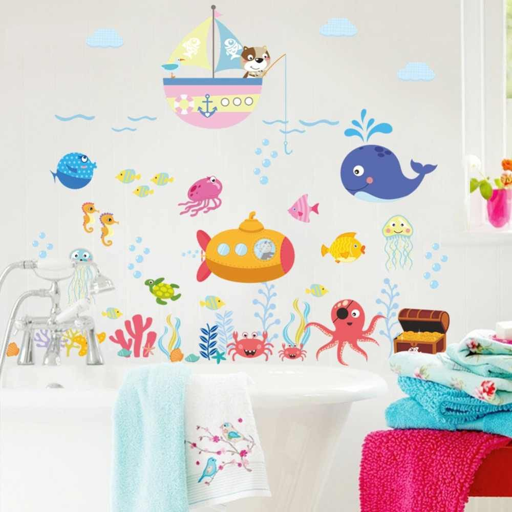 Childrens Bedroom Wall Stickers Removable Luxury Underwater Fish Bubble Wall Stickers for Kids Rooms Bathroom