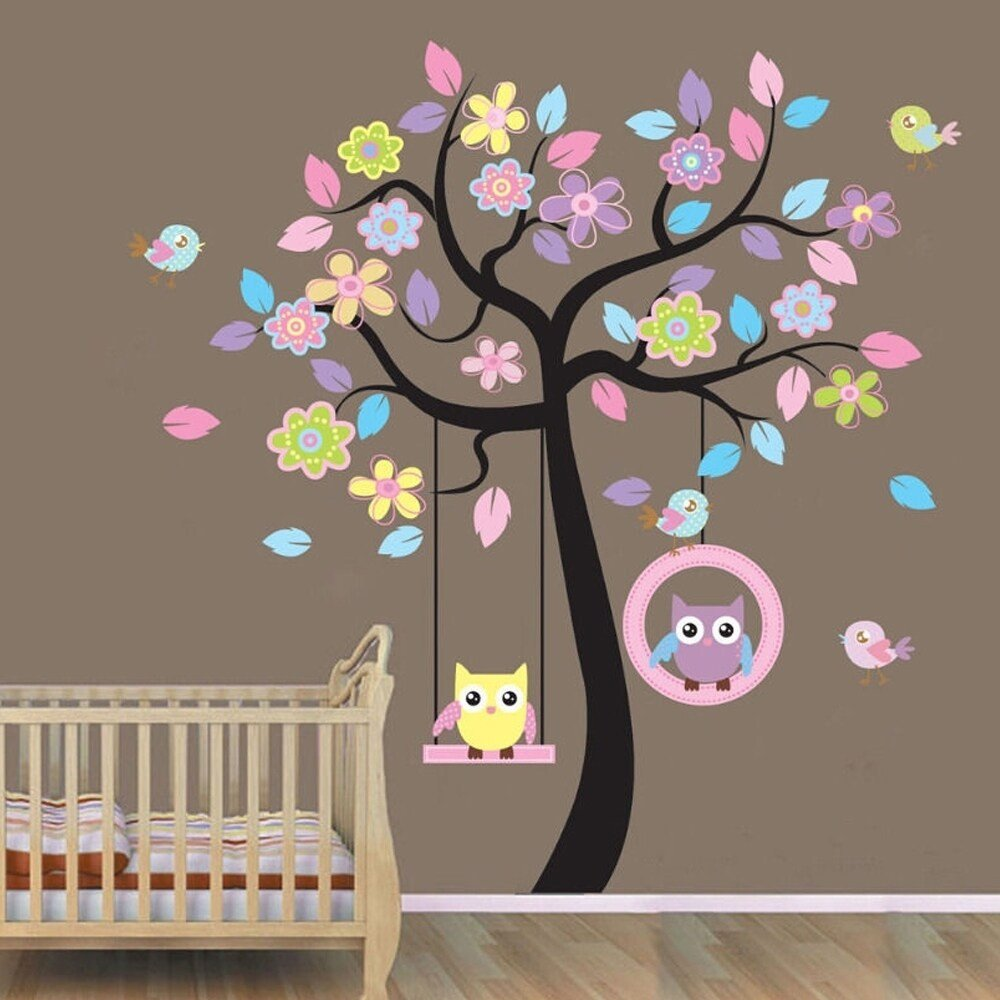 Childrens Bedroom Wall Stickers Removable New Animals Tree Owl Removable Wall Decal Sticker Kid Baby Nursery Room Wall Vinyl