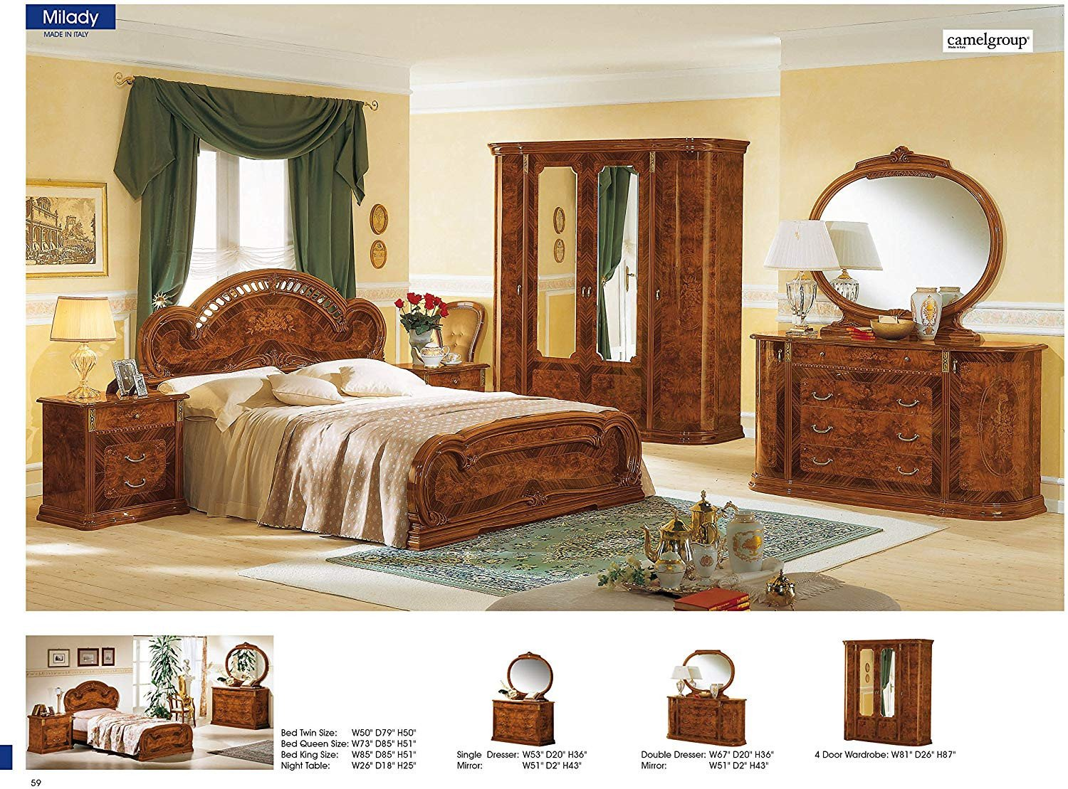 Classic Italian Bedroom Furniture Awesome Amazon Esf Milady Walnut Camelgroup Italy Kitchen