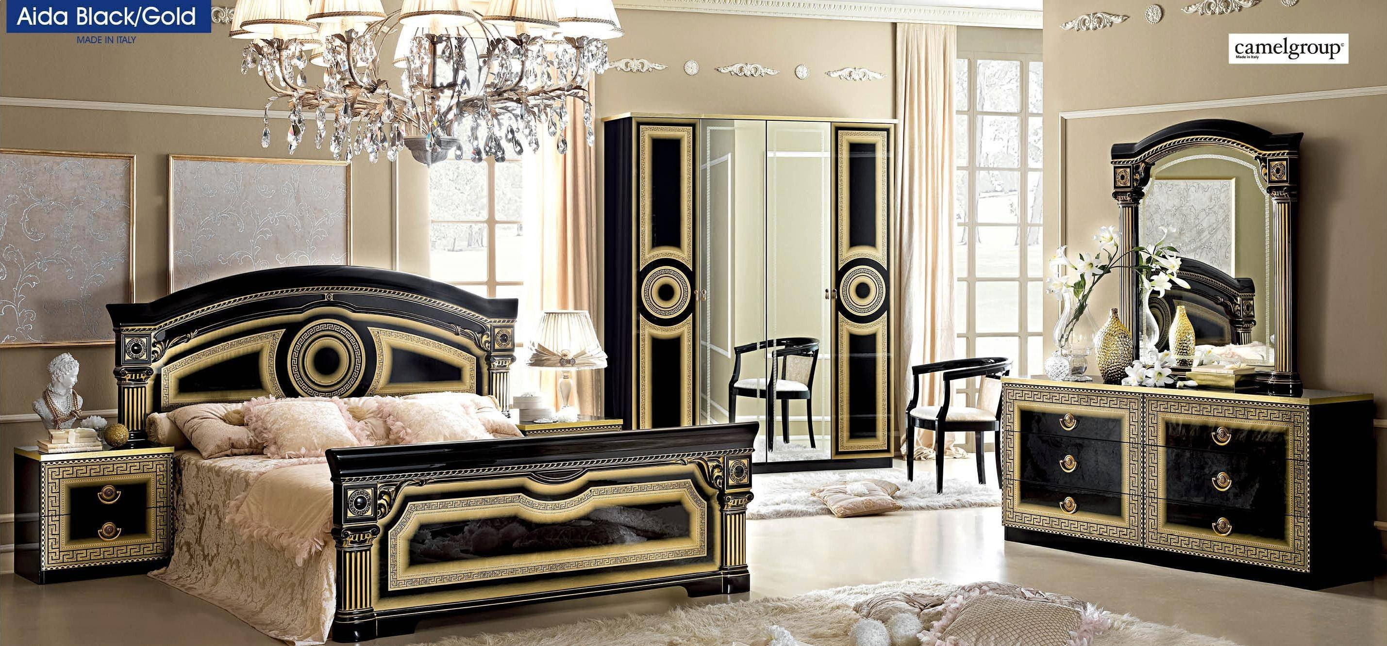 Classic Italian Bedroom Furniture Luxury Esf Aida Black Gold Lacquer Finish Queen Bedroom Set 5ps