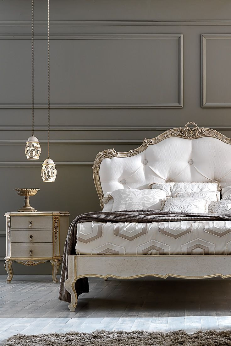Classic Italian Bedroom Furniture Unique ornate Carved Italian Rococo button Upholstered Bed