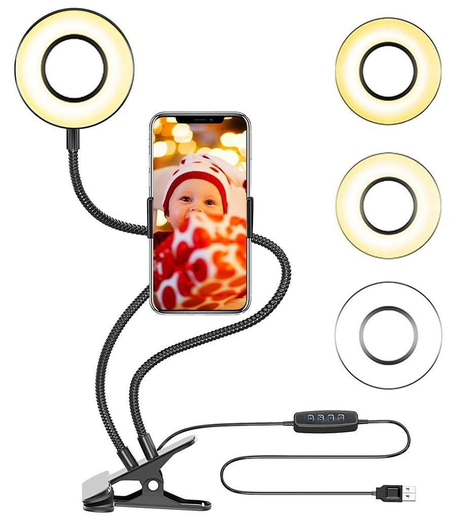 Clip On Bedroom Light Inspirational Selfie Ring Light with Cell Phone Holder Stand for Live