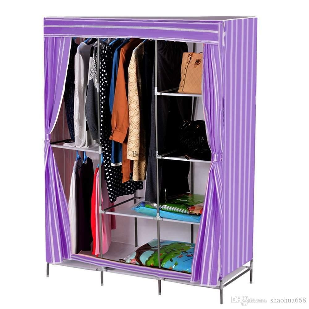 Clothing Rack for Bedroom Elegant 2019 Portable Closet Storage organizer Wardrobe Clothes Rack Steel Shelves Stripe From Shaohua668 $23 07