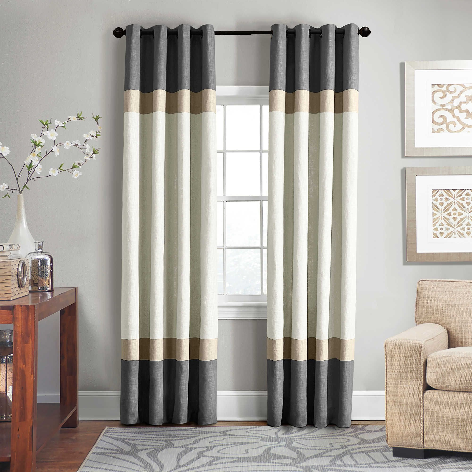 Colorful Curtains for Bedroom Beautiful Veratex Brooklyn Colorblock Linen 63 Inch Grommet Window