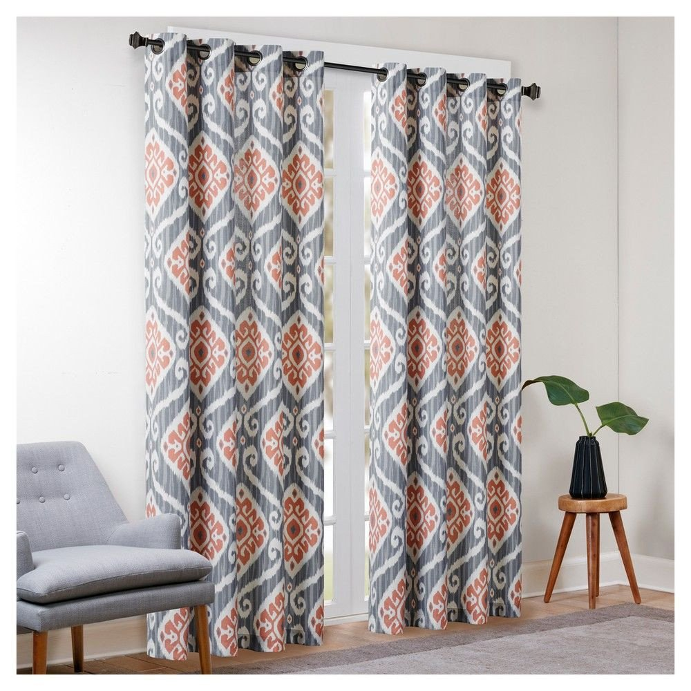 "Colorful Curtains for Bedroom Best Of Catori Printed Ikat Window Curtain Panel Yellow 50""x63"