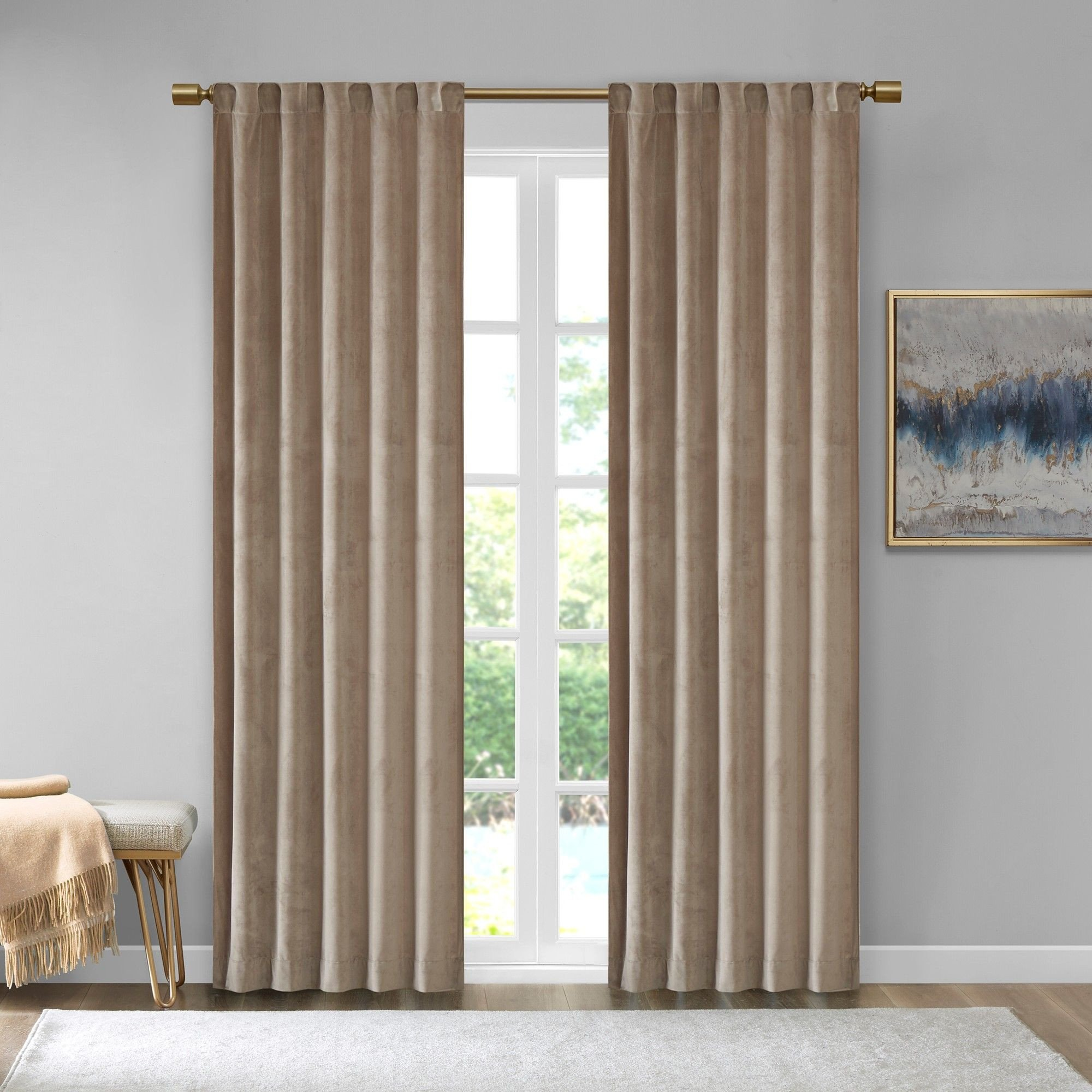 "Colorful Curtains for Bedroom Luxury 37""x95"" Bryce Poly Velvet Window Panel Pair Taupe Brown"