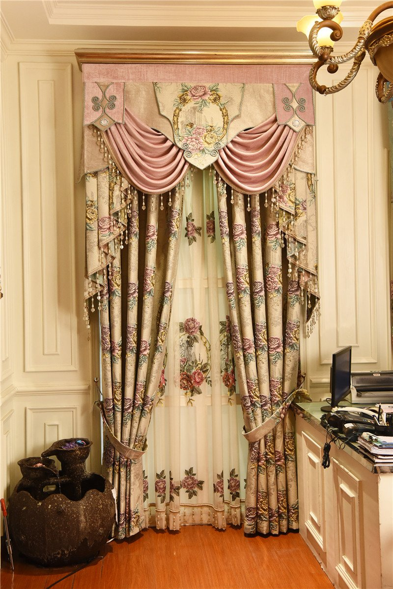 Colorful Curtains for Bedroom New 2019 European top Beige 4d Embossed Flower Thick Blackout Window Curtains for Living Room High Quality Villa Bedroom Curtain Cj From
