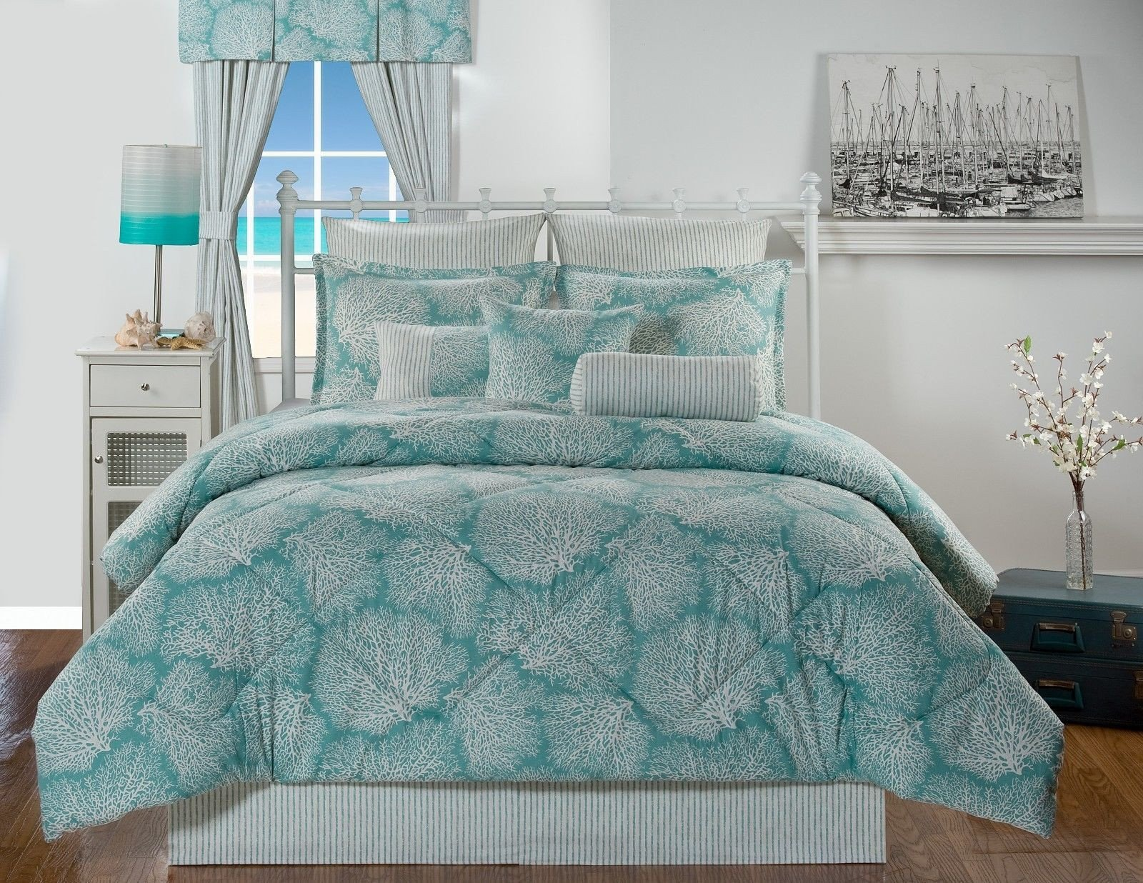 Coral and Teal Bedroom Beautiful Tybee island Ocean Coral Turquoise Coastal Beach Bedding