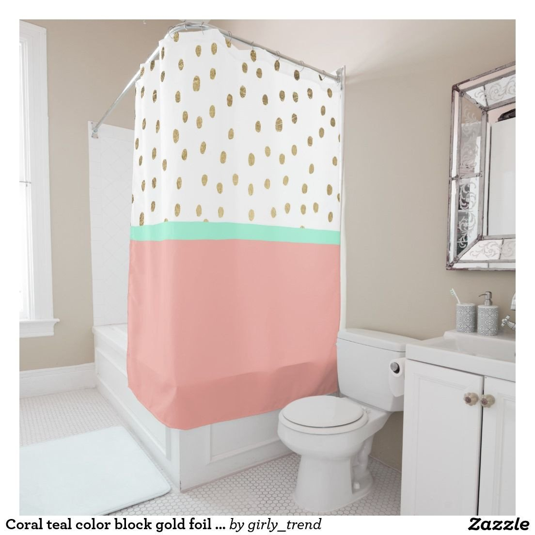 Coral and Teal Bedroom Unique Coral Teal Color Block Gold Foil Polka Dots Shower Curtain