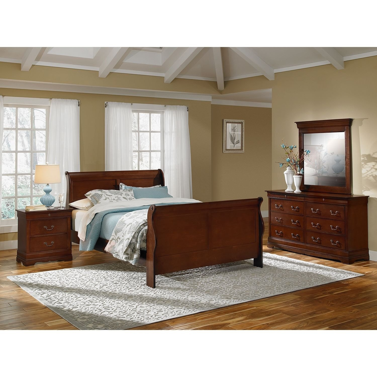 Cortina Sleigh Bedroom Set Lovely Bedroom Furniture Neo Classic Cherry 6 Pc Queen Bedroom