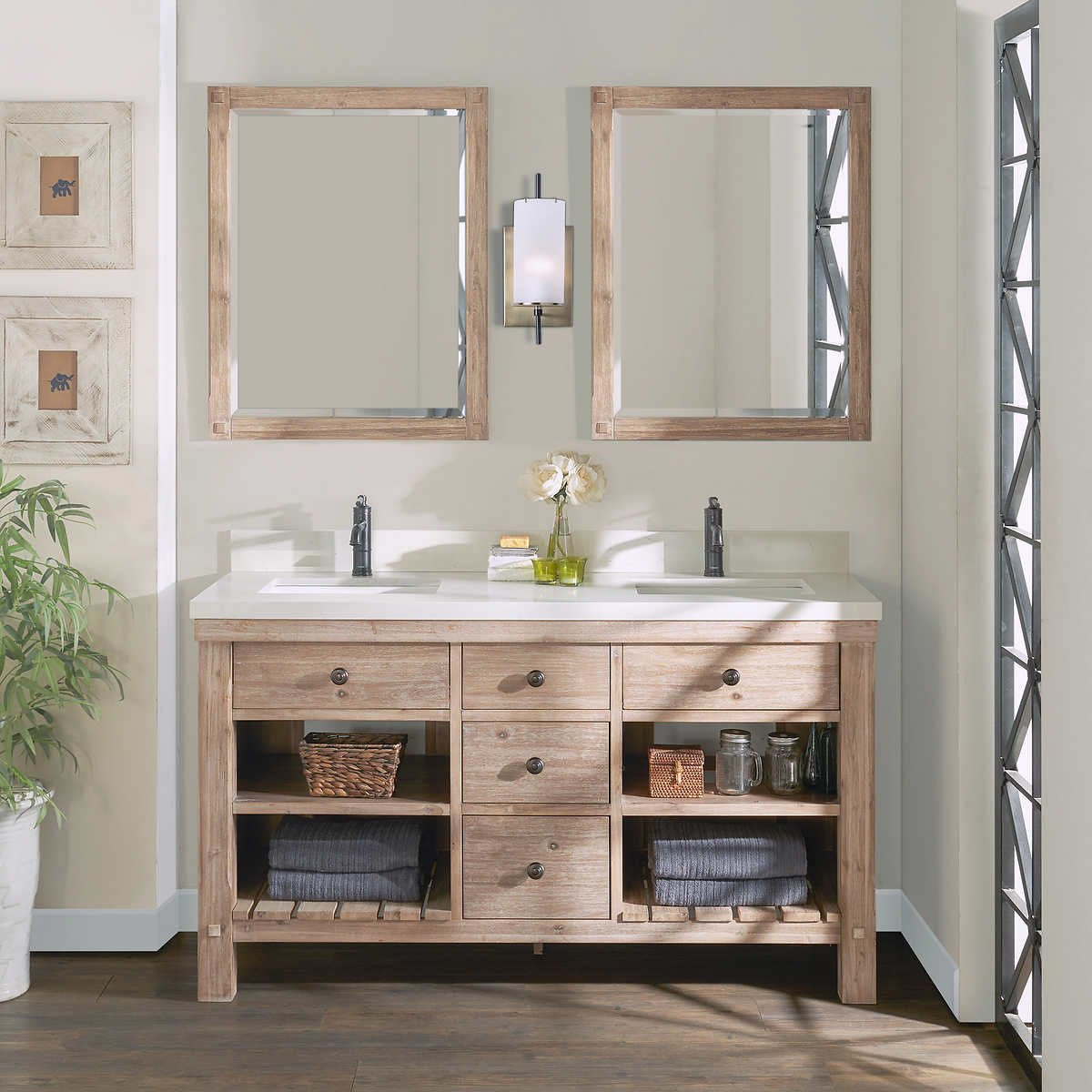 "Costco Bedroom Furniture Reviews Lovely Elbe Rustic 60"" Double Sink Vanity by northridge Home"