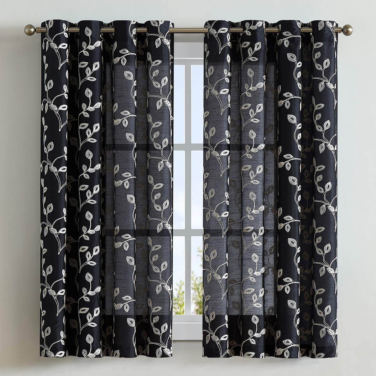 Curtains for Bedroom Windows with Designs Awesome Lala & Wonz Faux Silk Semi Sheer Curtains for Bedroom Floral Embroidered Grommet Sheer Window Curtains for Living Room 52 X 63 Inch Long Black 2