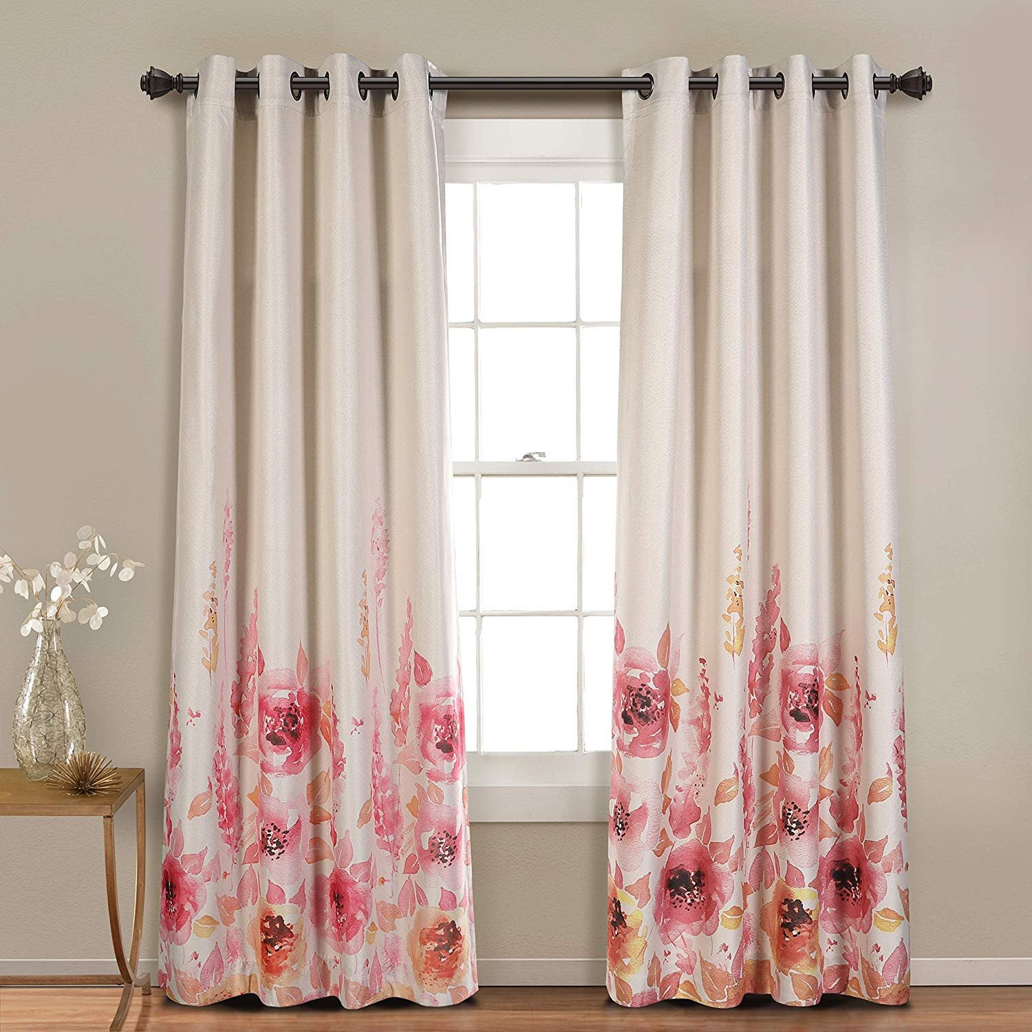 Curtains for Bedroom Windows with Designs Luxury Mysky Home Floral Design Print Grommet top thermal Insulated