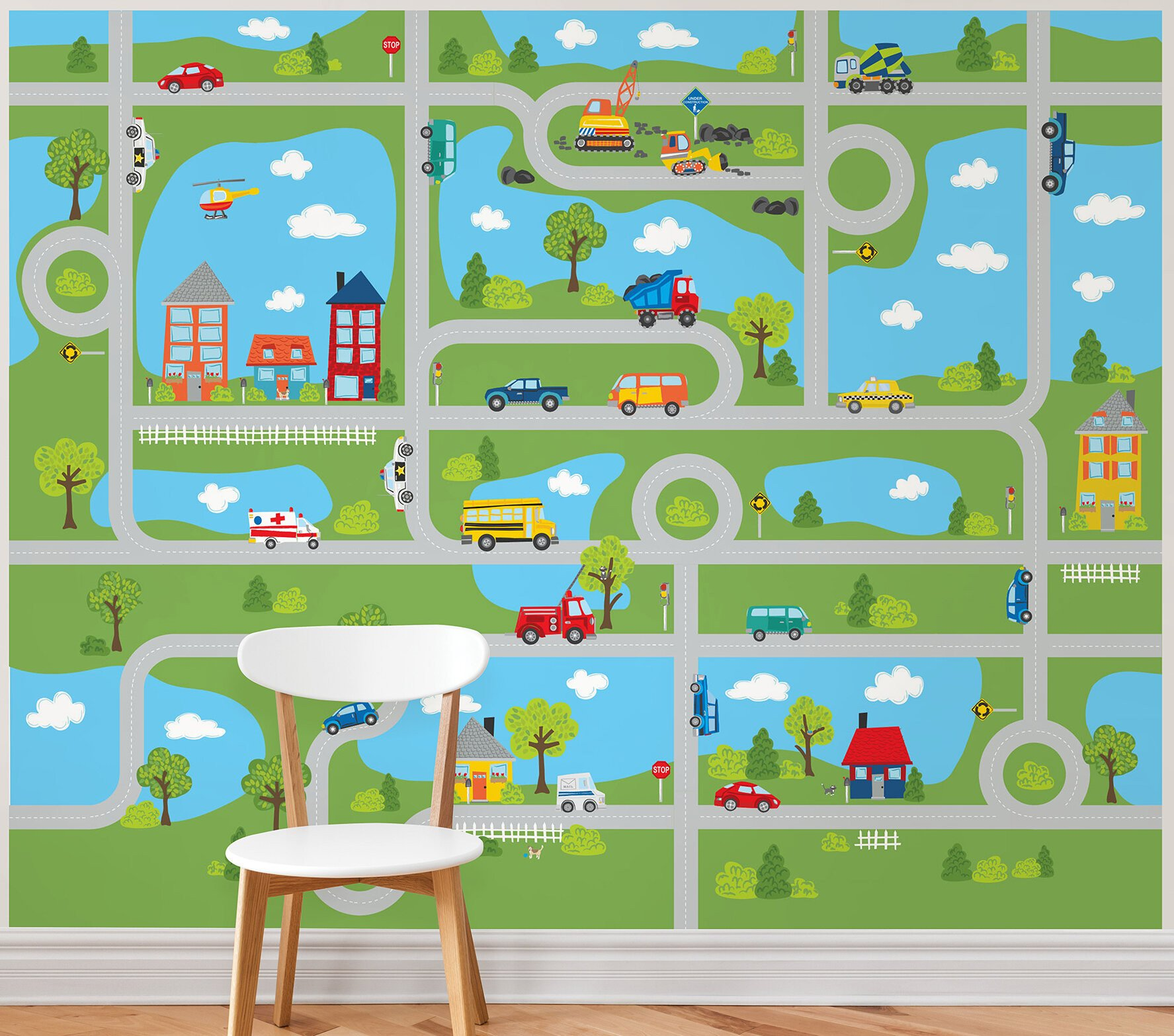 "Curtains for Boy Bedroom Inspirational Tyngsborough Road Map Peel and Stick 9 83 L X 94"" W Wall Mural"