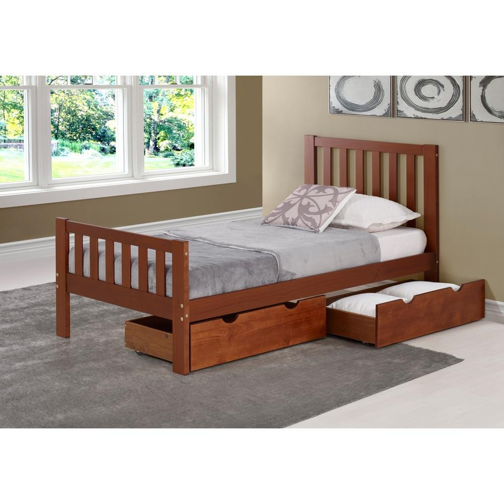 Dark Wood Bedroom Furniture New Aurora Chestnut Twin Bed with Storage Drawers