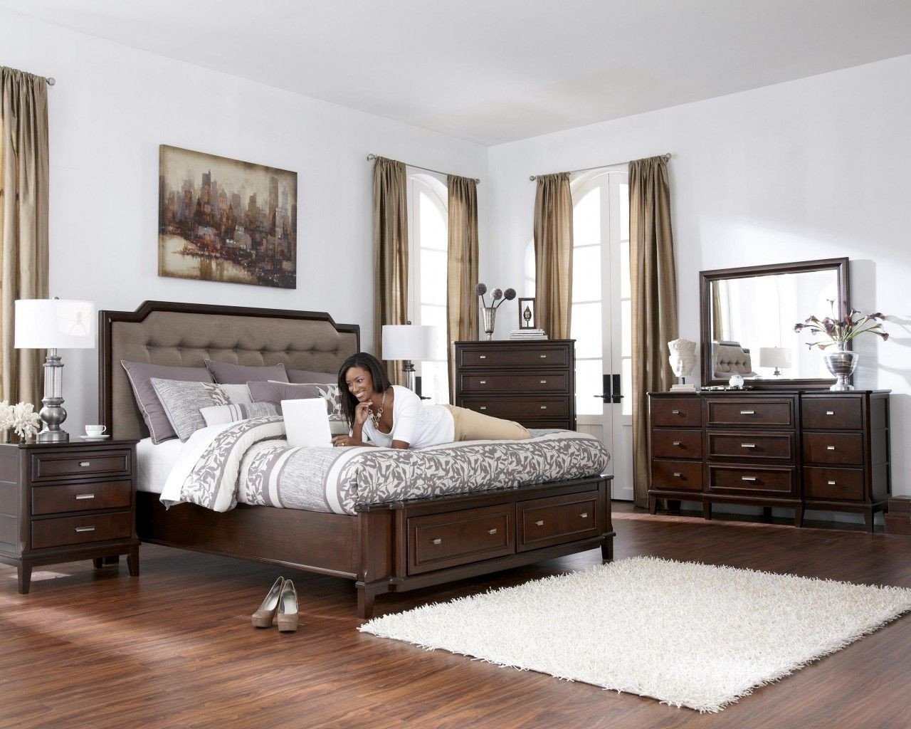 Dark Wood Bedroom Set Luxury Larimer Upholstered Storage Bedroom Set In Dark Brown
