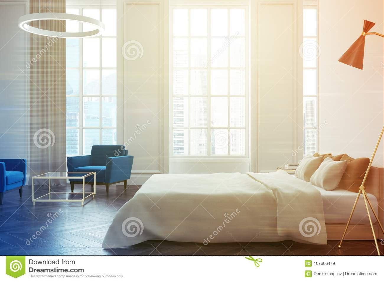 Dark Wood Floor Bedroom Fresh White Bedroom Interior Side toned Stock Illustration
