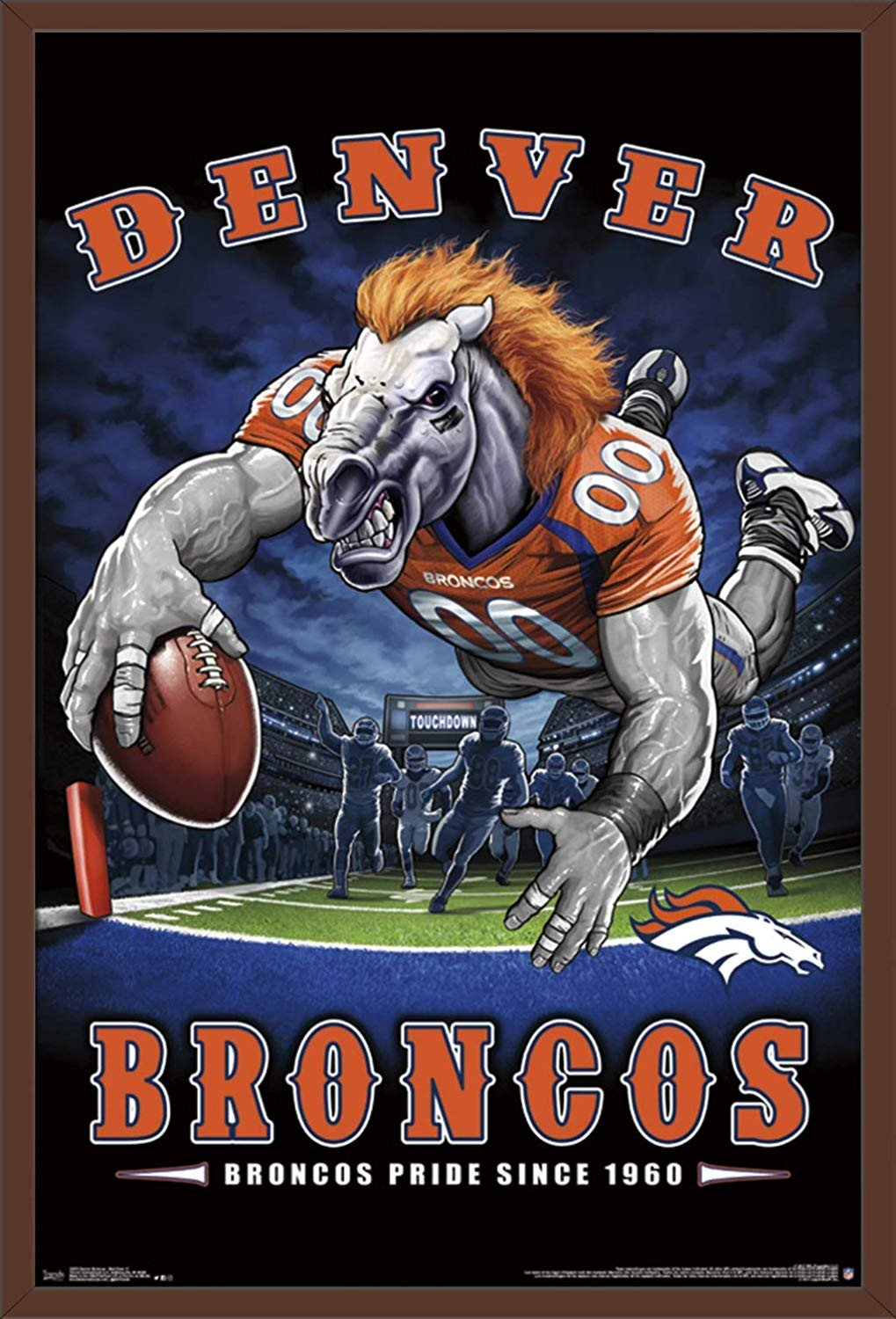 "Denver Broncos Bedroom Set Elegant Trends International Nfl Denver Broncos End Zone Mount Bundle Wall Poster 22 375"" X 34"" Multi"
