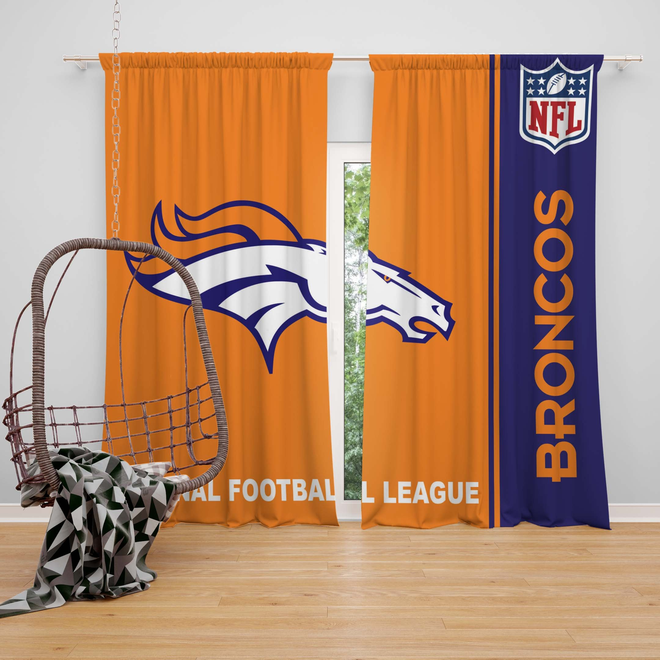 Denver Broncos Bedroom Set New Nfl Denver Broncos Bedroom Curtain