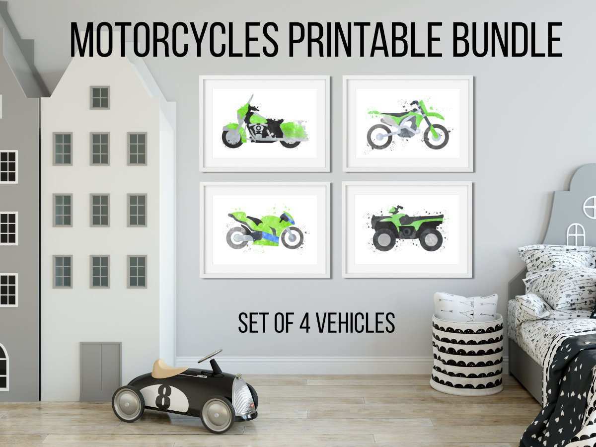 Dirt Bike Bedroom Set Beautiful Motorcycle Wall Decor Wall Art Set Nursery Printable Quad Print Printable Bundle Boys Room Decor Kids Wall Art Boy Bedroom Art