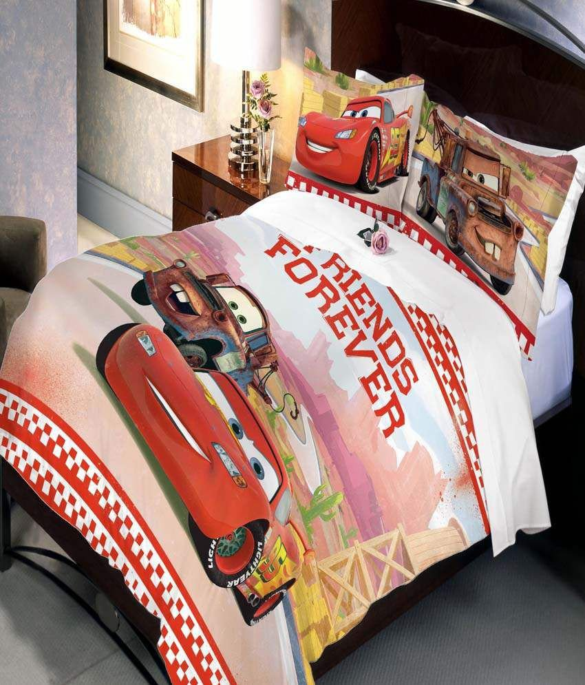 Disney Cars Bedroom Set Luxury Uber Urban Disney Cars Friends forever Cartoon Cotton Double Kids Bedsheet with 2 Pillow Covers Multicolor