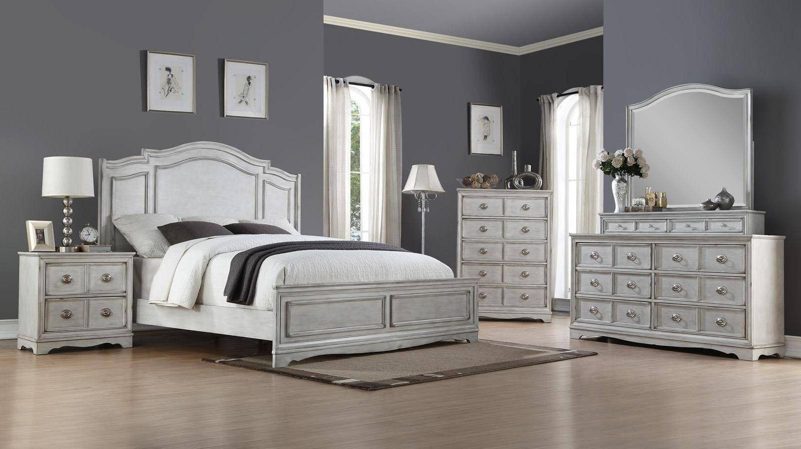 Distressed White Bedroom Furniture Awesome Bernards Furniture toulon Antique White 1616 105 Queen