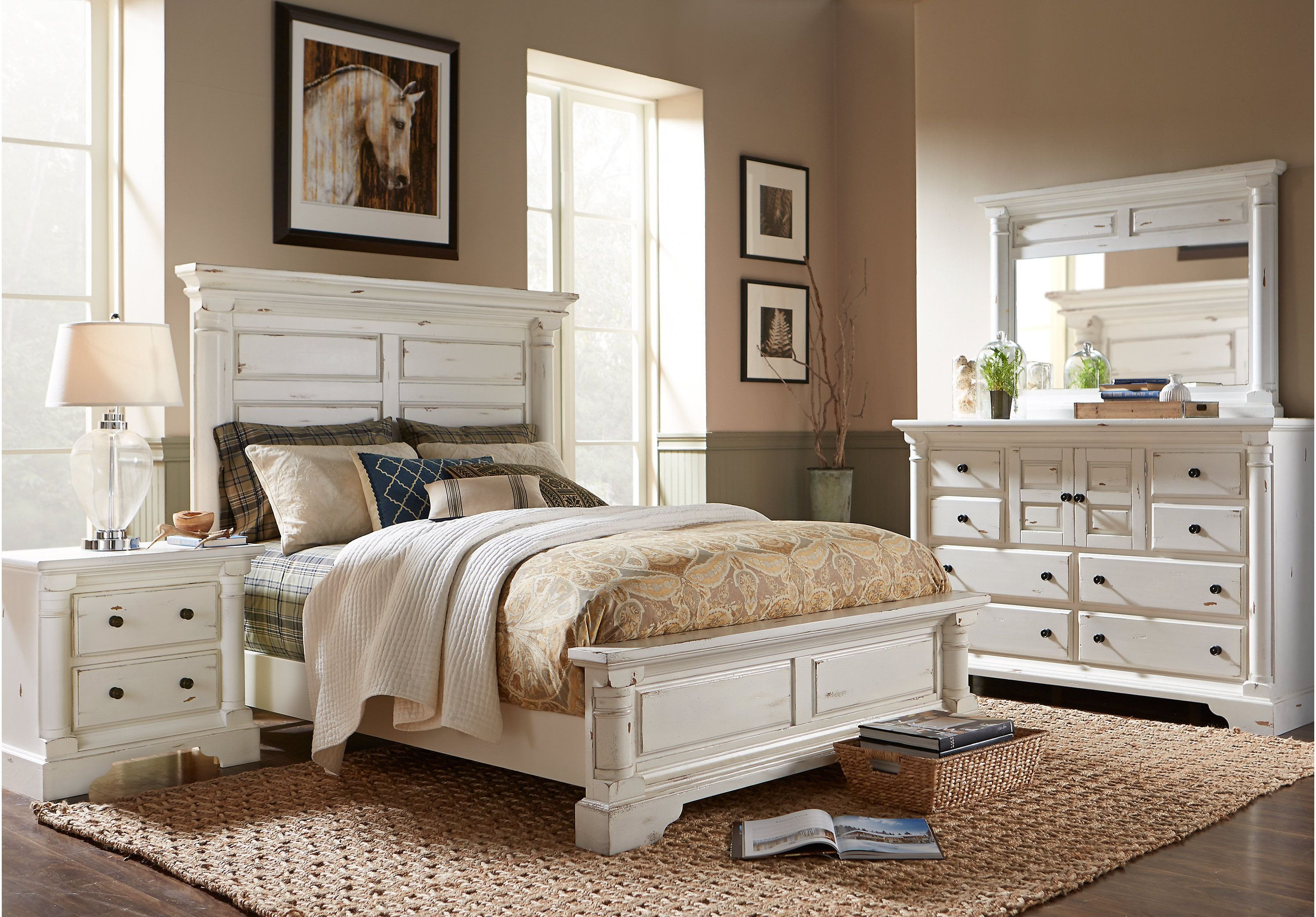 Distressed Wood Bedroom Furniture Elegant Claymore Park F White 5 Pc King Panel Bedroom