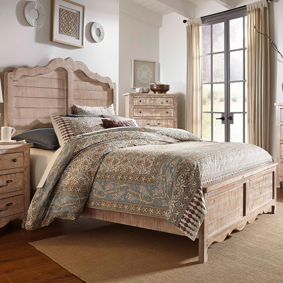 Distressed Wood Bedroom Furniture Luxury Tiddal Home Chatsworth King Panel Bed In Chalk Distressed