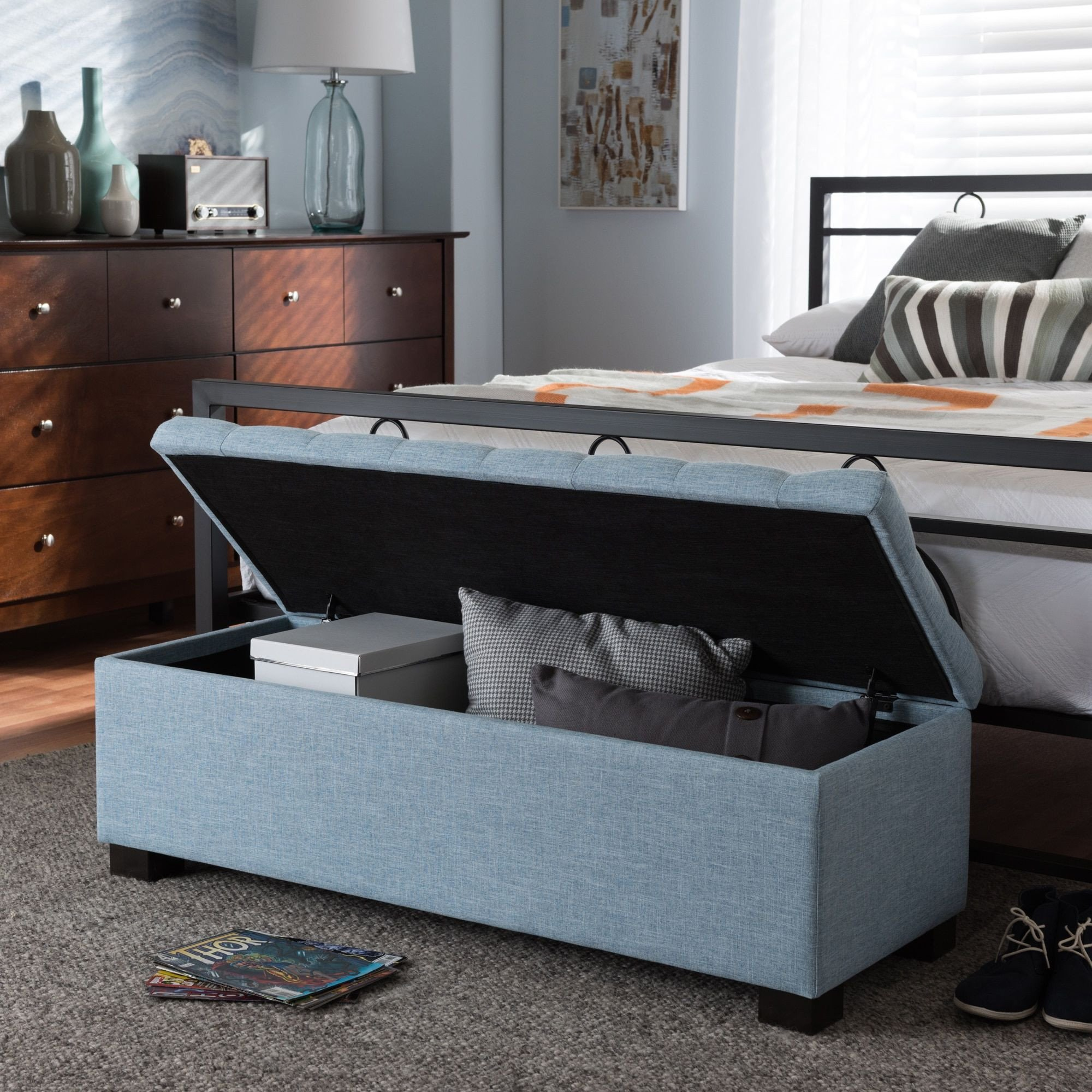 Fabric Bench for Bedroom Awesome Baxton Studio Alcmene Modern and Contemporary Light Blue