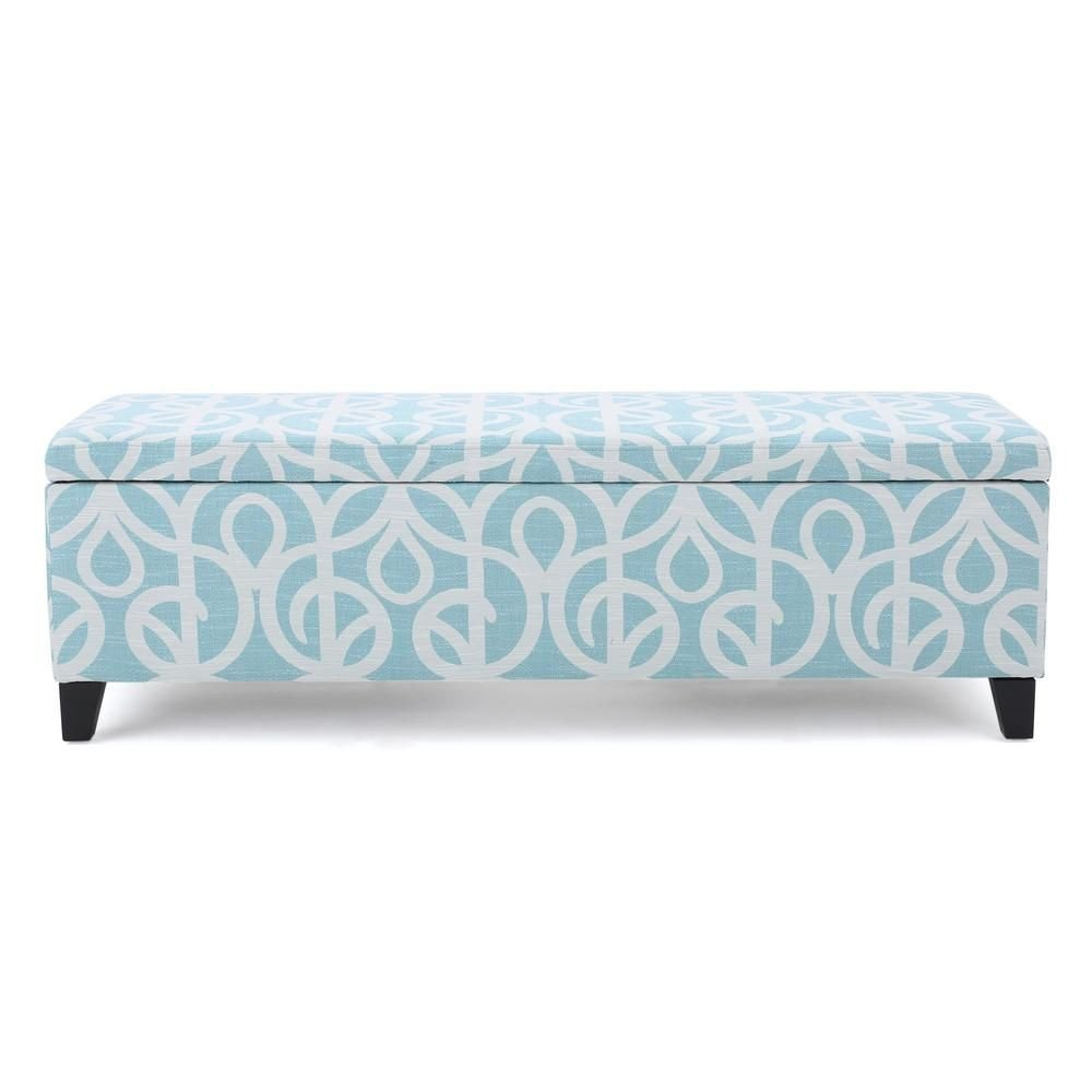 Fabric Bench for Bedroom Best Of Noble House Cleo Blue and White Azure Patterned Fabric