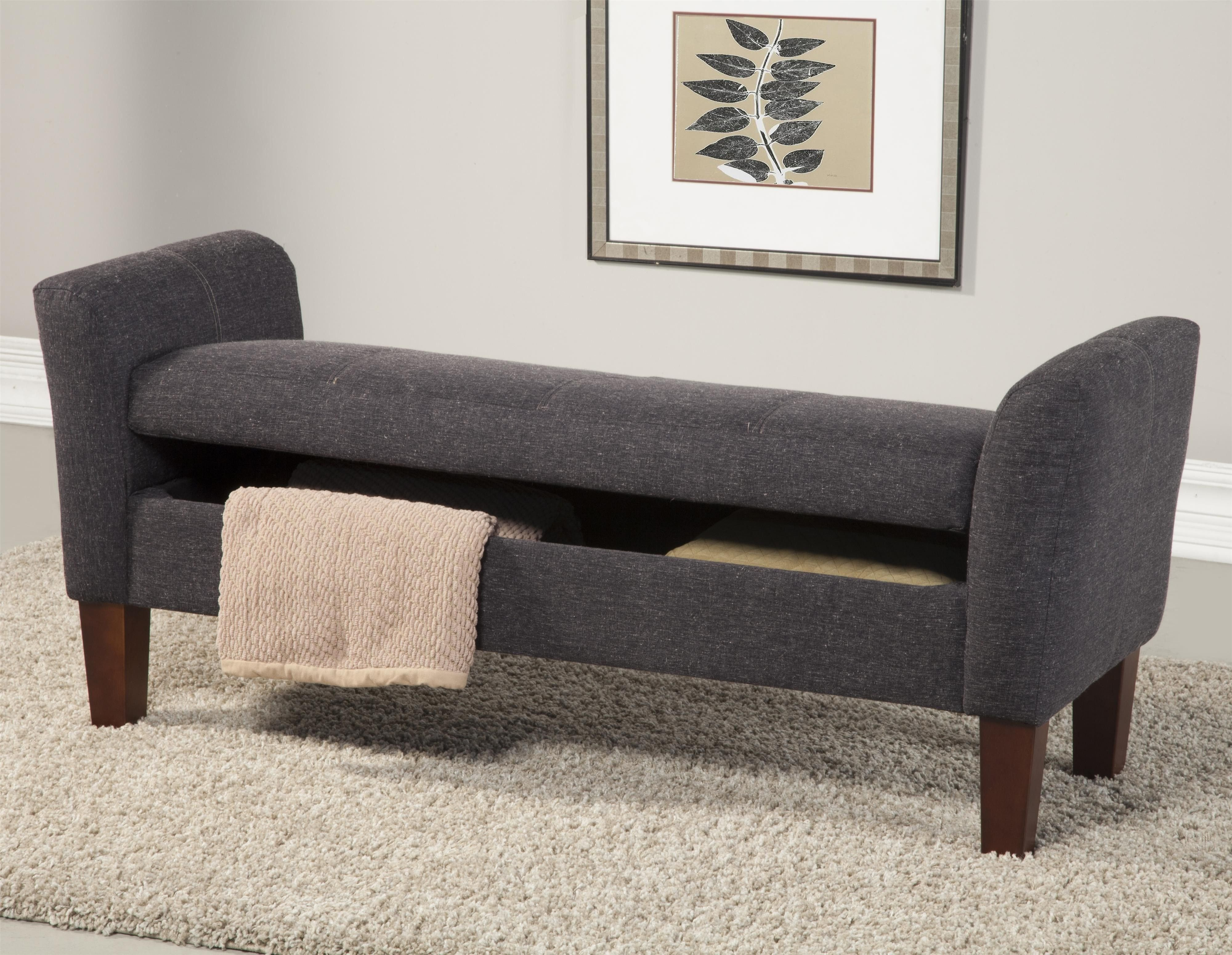 Fabric Bench for Bedroom Elegant Gray Canvas Fabric Bench with Armrest and Storage Also Brown