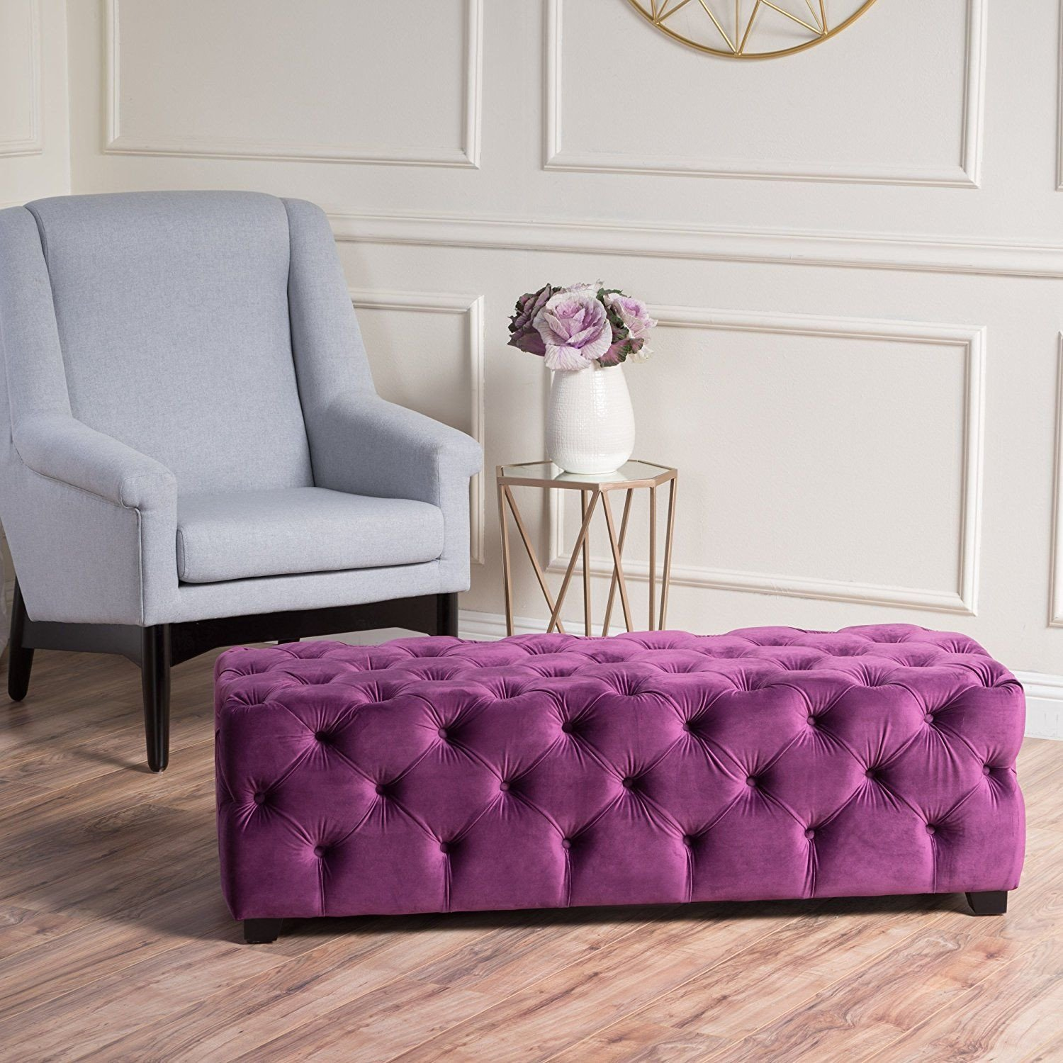 Fabric Bench for Bedroom Luxury Provence Purple Tufted Velvet Fabric Rectangle Ottoman Bench