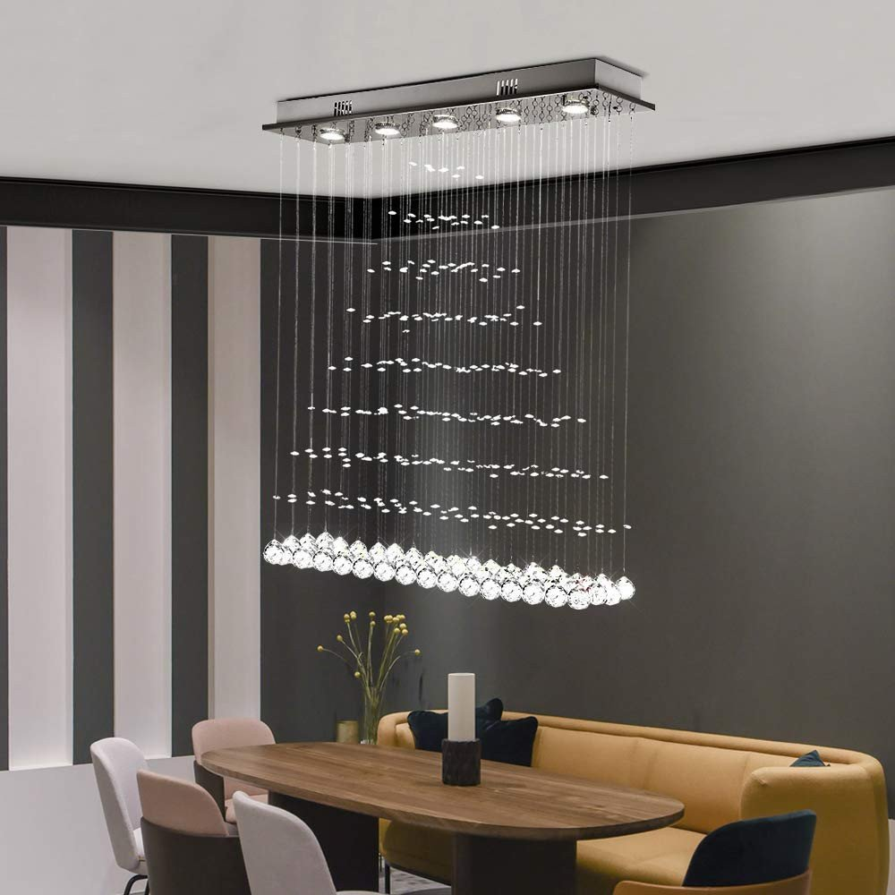Fake Chandelier for Bedroom Elegant Modern Crystal Chandelier Rectangle Rain Drop Flush Mount Lighting Ceiling Light Fixtures for Living Room Dining Room Foyer Bedroom 5 Lights