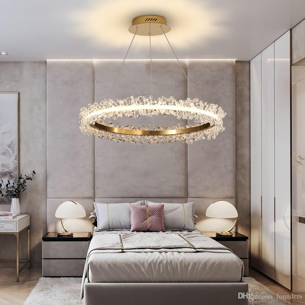 Fake Chandelier for Bedroom New Modern Crystal Chandelier Lighting for Living Room Gold Ring Bination Led Chandeliers Home Decoration Lustre Cristal Lamps Chandelier for Dining