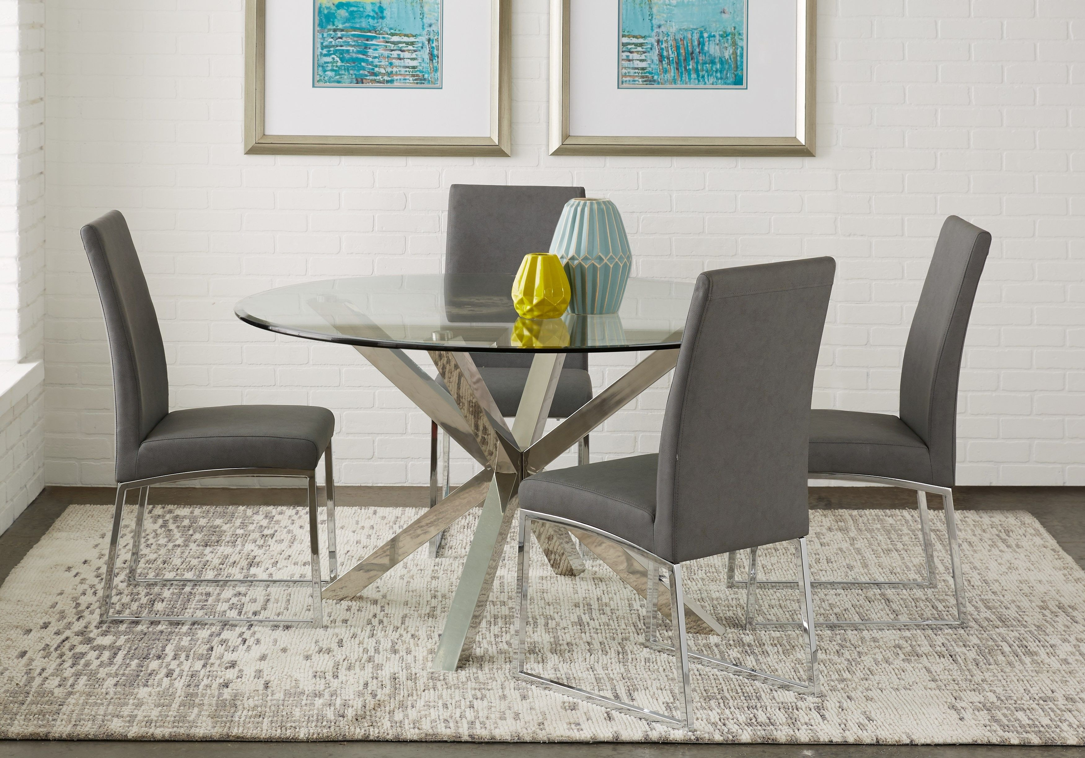 Fancy Chairs for Bedroom Best Of Jules Gray 5 Pc Dining Set with Charcoal Chairs