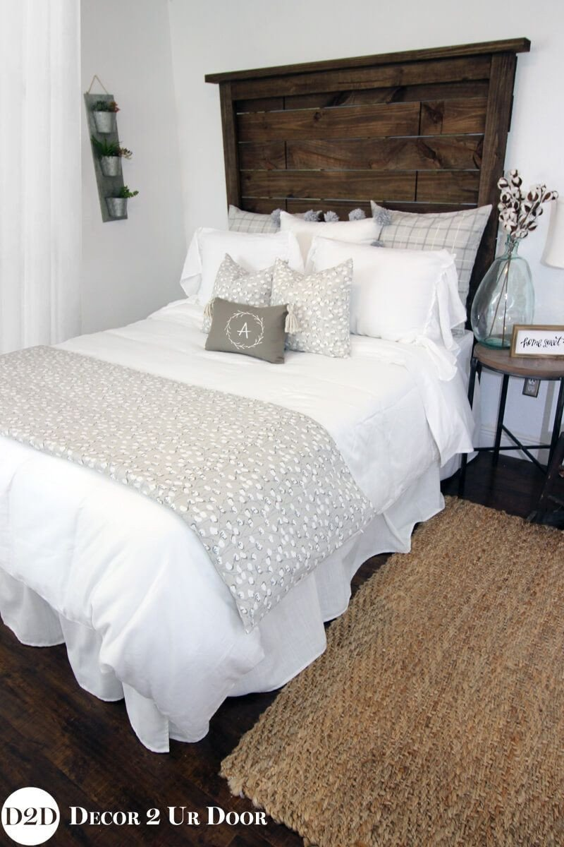 Farmhouse Style Bedroom Set Unique Merging Dark Wood and soft Grey Textiles