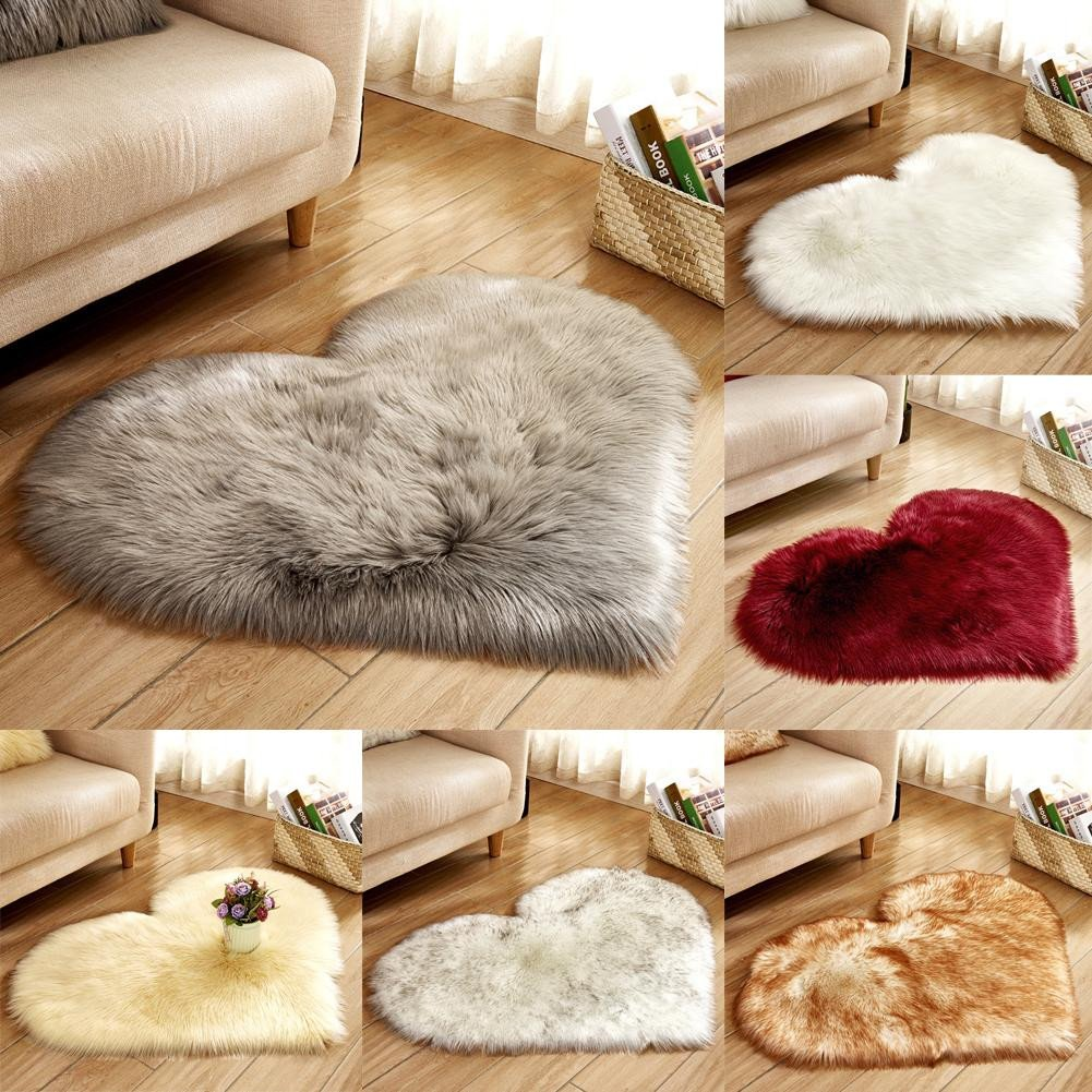 Fluffy Carpet for Bedroom Beautiful Fluffy Heart Shaped Rug Shaggy Floor Mat soft Faux Fur Home Bedroom Hairy Carpet Mercial Carpet Tile Carpeting Costs From Xiaomei $6 16