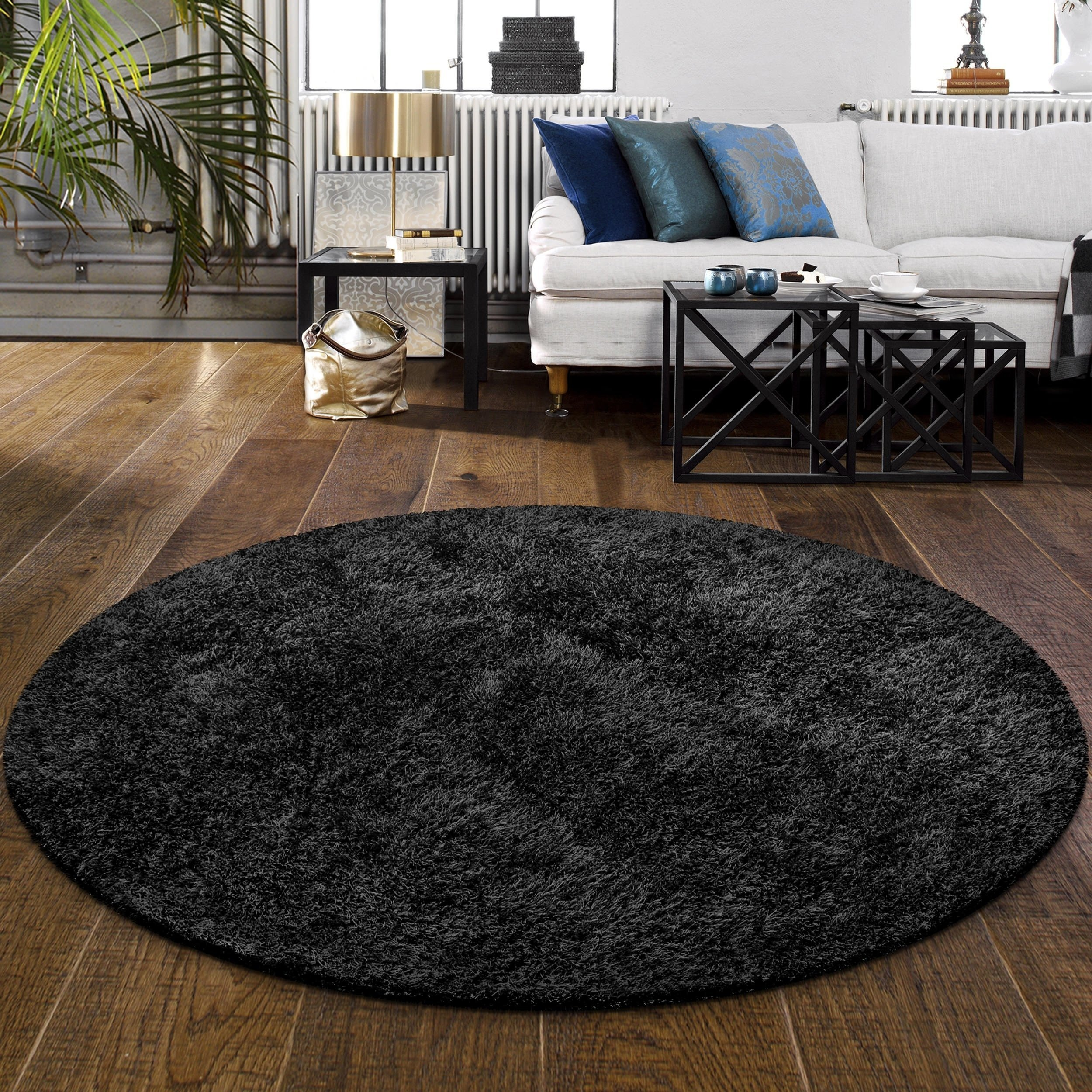 Fluffy Carpet for Bedroom Lovely Superior Elegant Plush Hand Woven Black Shag Round Rug 4