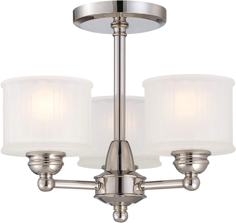 "Flush Mount Bedroom Ceiling Light Beautiful Minka Lavery Semi Flush Mount Ceiling Light 1730 Series 1738 613 3lt 180 Watt 13""h X 16""w Glass Polished Nickel"