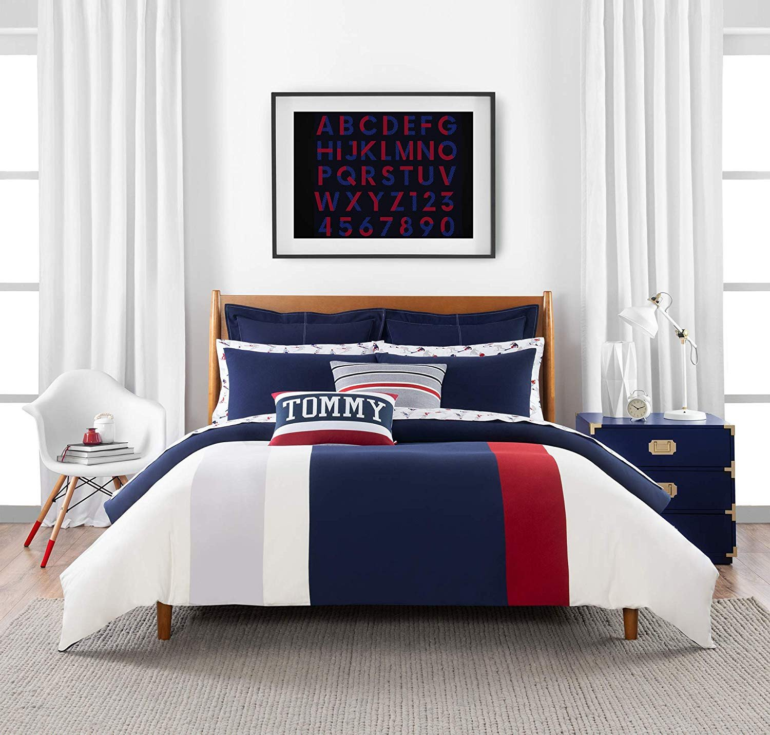 Full Bedroom Furniture Set Awesome Amazon tommy Hilfiger Clash Of 85 Stripe Bedding