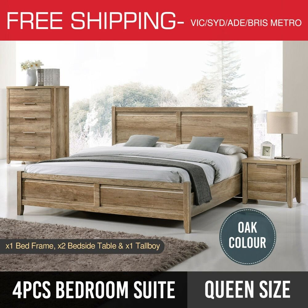 Full Bedroom Furniture Set Awesome Bedroom Suite Queen Bed Frame Bedside Table Tallboy 4pcs Oak