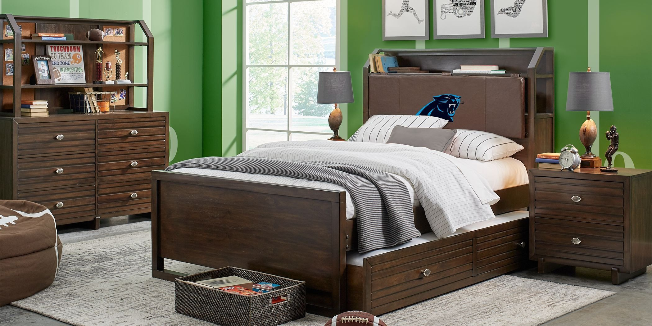 Full Bedroom Furniture Set Awesome Nfl 1st & Goal Carolina Panthers Brown 5 Pc Full Bookcase