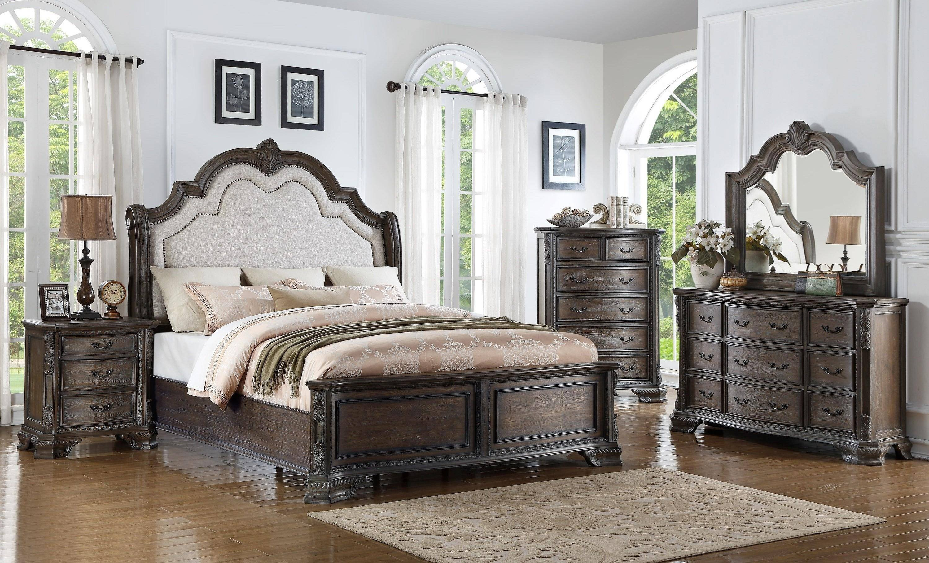 Full Bedroom Furniture Set New Crown Mark B1120 Sheffield Queen Panel Bed In Gray Fabric
