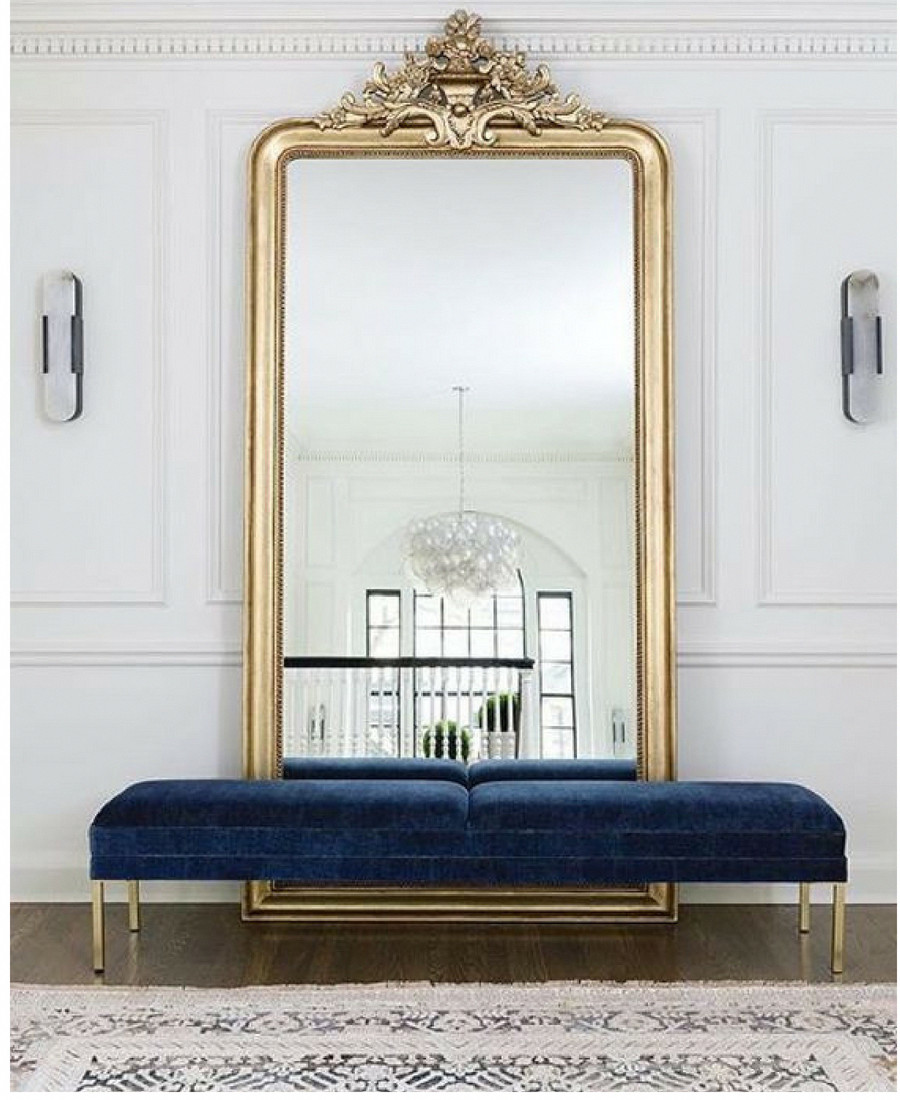 Full Length Bedroom Mirror Beautiful Floor Length Mirror Navy Velvet Seat Crown Molding