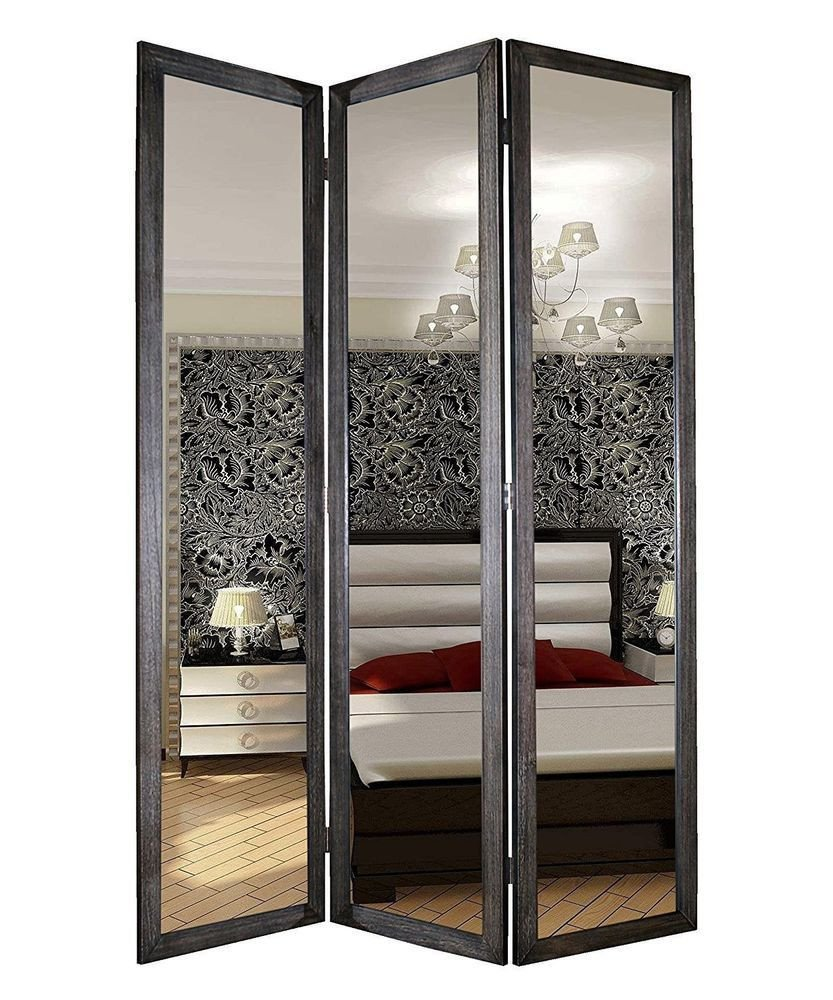Full Length Bedroom Mirror Elegant Room Divider Mirror Mirrored 3 Panel Screen Full Length