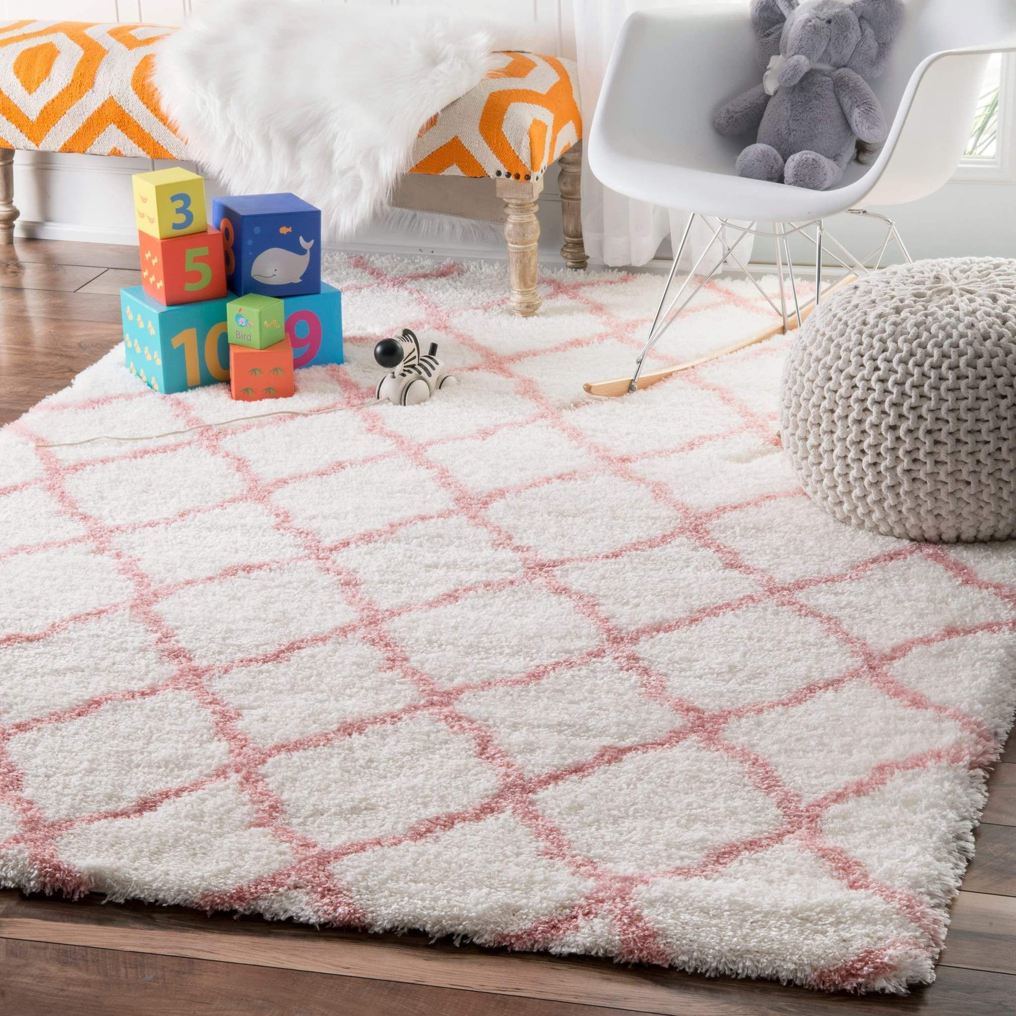 Furry Rugs for Bedroom Lovely Pink Boho Trellis White Shag Indoor Rug