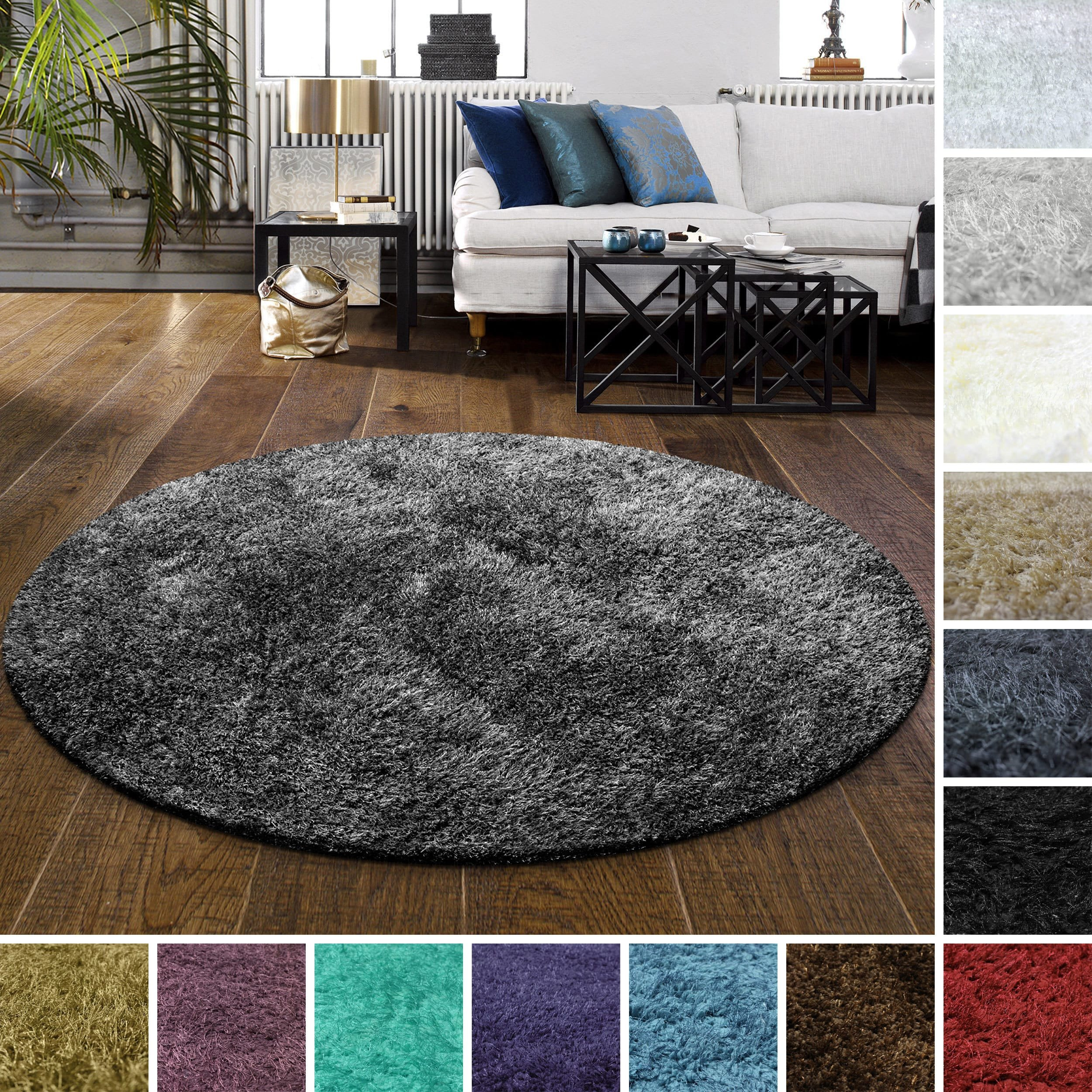 Furry Rugs for Bedroom New Superior Elegant Plush Cozy and Hand Woven Round Shag Rug