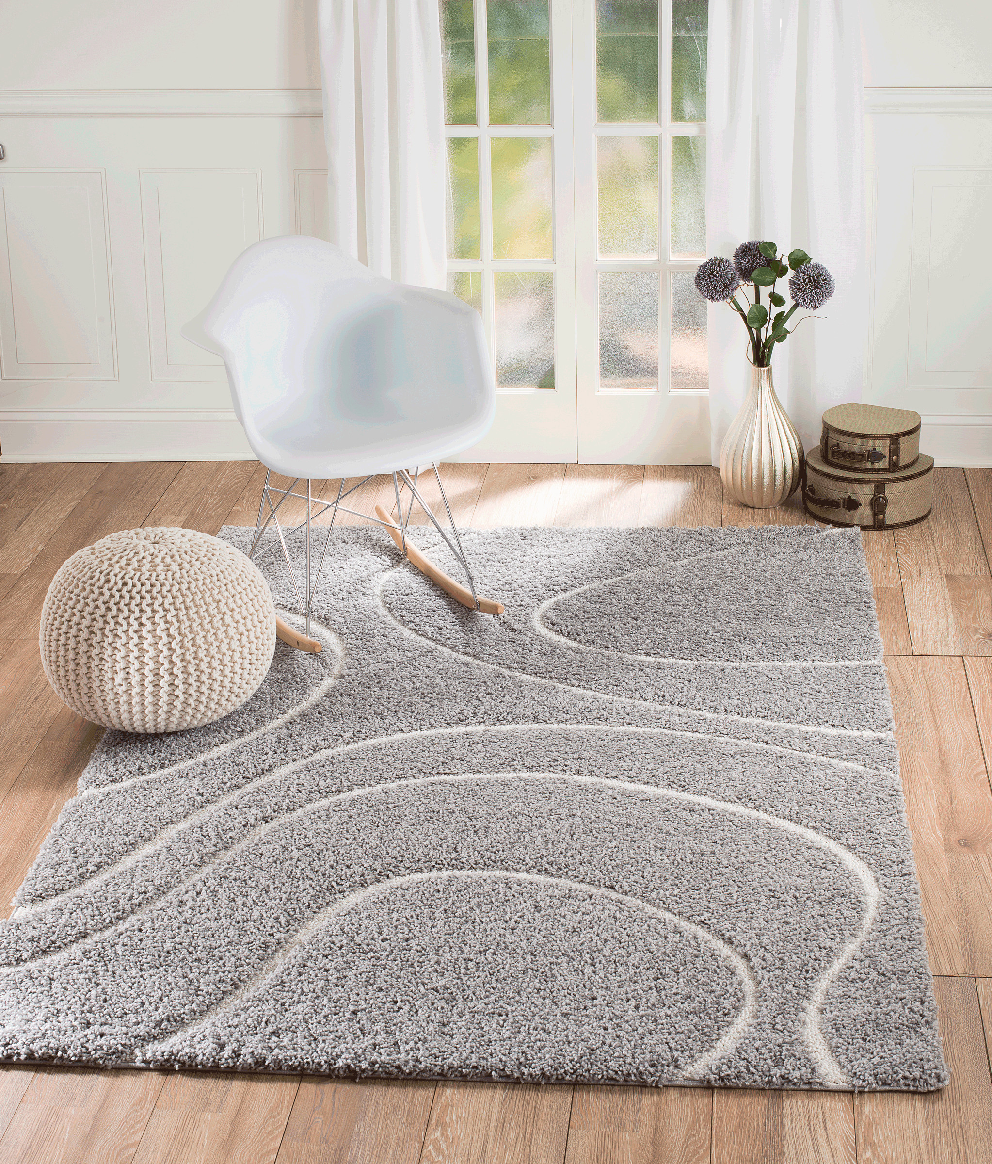 Furry Rugs for Bedroom Unique Lorena Shag 03 Gray Wave Shaggy area Rug area Rugs