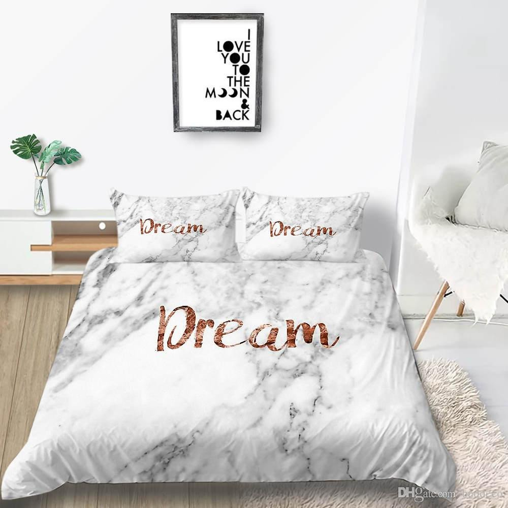Girl Bedroom Set Full Fresh Pink Marble Bedding Set Girls Creative Sweet Beautiful Duvet Cover King Queen Twin Full Single Double Bed Cover with Pillowcase Teenage Bedding Girl